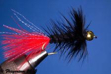 Fliegentom Streamer 3 piéces Wolley Bugger avec perle sur la tête noir/rouge