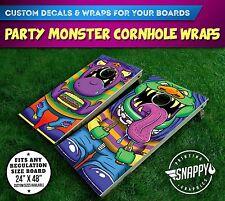 Party Monster Cornhole Vinyl Decals, Bag Toss Illustrated Custom Board Wraps
