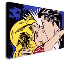 THE KISS - POP ART Roy Lichtenstein Canvas Wall Art Framed Print -Various sizes