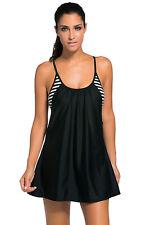 Ladies Fashion Black Flowing Swim Dress Layered 1pc Tankini Top