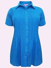 Mujer Nuevo Azul Waffle Raya Pintuck Within Manga Corta Camisa de tamaños Reino Unido 18 a 48