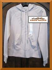 EDDIE BAUER NEW Front Zip Cotton Fleece Long-Sleeve Gray Hoodie Sweat Jacket S