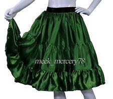 D Green Satin 3 Layer Short skirt Belly Dance Skirt  casual skirt Sexy Dress S62
