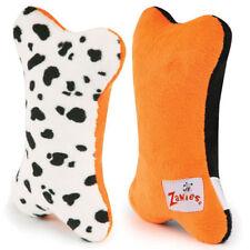 "BOO BONES Dog Toy Plush Squeaker Black/Orange White-Black Spots/Orange CUTE 5"""
