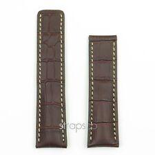 DASSARI Vantage Brown Croc Leather Watch Band Deployment Strap fits Breitling
