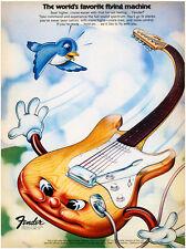 Fender The World's Favorite Flying Machine Stratocaster 1973 Advertising Poster