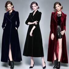 Women Fall Winter Formal Vintage Velvet Long Parka Party Maxi Trench Coat Jacket