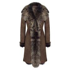 Ladies Women Gold Brown 3/4 Length Warm Luxury Toscana Sheepskin Coat