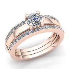 Real 0.75carat Round Diamond Ladies Bridal Solitaire Engagement Ring 18K Gold