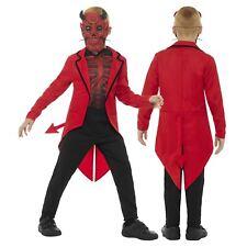 Boys Day of the Dead Devil Satan Diablo Horns Mask Tail Coat Fancy Dress Costume
