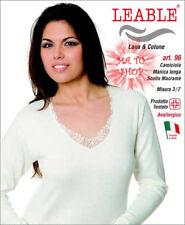 SET 3 Maglia Leable 96 Donna Manica Lunga Scollo V Macramè Lana Cotone 3 4 5 9f7c88d5c24