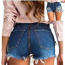 Pantaloncini Jeans Strappati con Lampo Dietro Donna Woman Denim Shorts JEA009 P