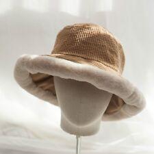 Women Lady Corduroy Bucket Hats Bush Cap Fishing Faux Fur Casual Fashion  Vintage 6b87f21eb5d5