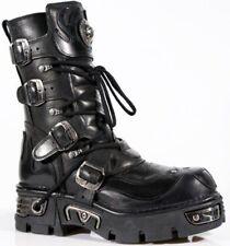 NEWROCK New Rock 107-S3 Black Skull Devil Leather Biker Goth Rock Boots