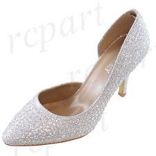 New women's shoes evening rhinestones blink high heel slip on wedding Silver
