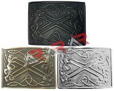 Scottish Saltire & Lion Kilt Belt Buckle Chrome/ Antique/ Black Finish Band Item