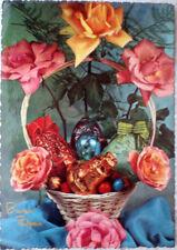 1957 BUONA PASQUA cesto con regali uova cioccolato fiori