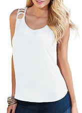 Maglia donna top casual aderente schiena seminuda t-shirt senza maniche