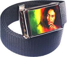 Bob Marley Rasta Belt Buckle Bottle Opener Adjustable Web Belt
