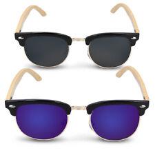 Sonnenbrille UV400 Damen Herren Holz Brille mit Bambus Bügeln Schwarz