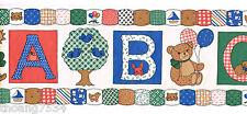 Country Patchwork Teddy Bear ABC Nursery Kids School Classroom Wall paper Border