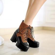 Women's Block Heels Combat Ankle Boots Platform Lace Up Multi-color Riding Shoes