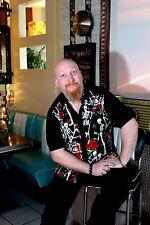 Hombre negro Esqueleto Rosas 50s estilo lounge s/s camiseta Gótico Rockabilly