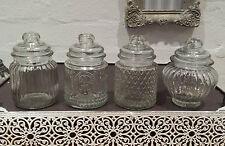 SMALL 13cm Vintage Retrò REEDED GLASS STORAGE JAR JAR vuoto sigillo SWEET Spice