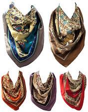 Étnico Estampado Floral Seda Raso bordeado Bandana Pañuelo de cabeza Bufandas cuello cuadrado