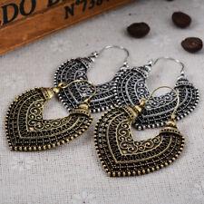 Love Shape Bohemian Women Tribal Vintage Ethnic Gypsy Hollow Drop Hoop Earrings
