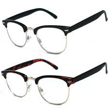 80's Vintage Horned Rim Half Frame Clubmaster Clear Lens Reading Glasses - RG16