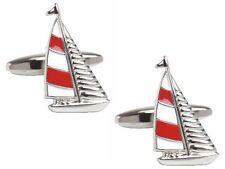 New Yacht Design Novelty Cufflinks (Red & Blue Sailed Variants)