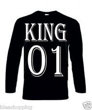 T-shirt uomo donna manica lunga bianca o  nera cotone con scritta KING 01