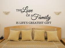 The Love DI UN FAMIGLIA IS Lifes Greatest REGALO decalcomania camera da letto