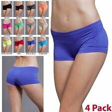4 Pack Women Dance Exercise Activewear Yoga Boyshorts Mini Panties Bike Shorts