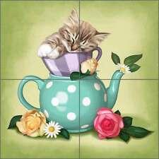Ceramic Tile Mural Backsplash Cazenave Kitten Tea Pot Kitchen Art MC2-010a