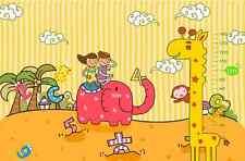 3DElephant Girafe 3 Photo Papier Peint en Autocollant Murale Plafond Chambre Art