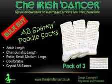 AB Diamonted White Ankle Length Poodle Socks - BULK BUY Pack of 3