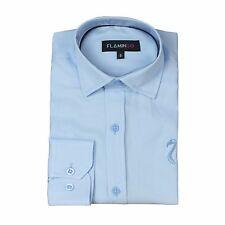 Boys Sky Blue Pure Real Cotton Boys Shirt Kids Party Casual Long Sleeve Shirts