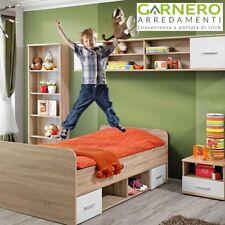 Camera per bambini Sally design moderno quercia sonoma e frontali bianco opaco