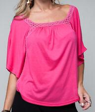 NEW Womens Hot Pink Fuchsia Batwing Top Blouse Squareneck Fancy Kaftan Tops M-L