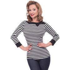 Steady Clothing Rockabilly Vintage Bluse Shirt Striped Boatneck Schleife Schwarz