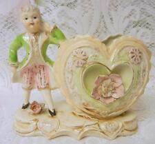 Antique 20's Japanese Valentine's Day Boy Heart Planter Vase Figurine