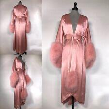 Fall Winter Long Sleepwear Robes Shawl Faux Fur Bathrobe Spa Pajamas Nightwear