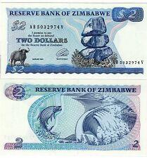ZIMBABWE Billet 2 Dollars 1994 P1d SIGN.3 WMK TYPE B RARE   UNC NEUF