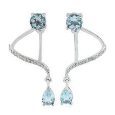 Natural Diamond 2.27ct Blue Topaz Designer Ear Jackets 14k White Gold Jewelry