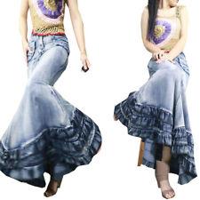 Fashion Womens Slim Denim Jeans Dress Fishtail Trendy Long PackHip Skirt