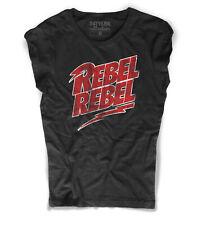 Camiseta de mujer REBEL rebel David Bowie saetta relámpago Ziggy Stardust roca