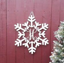 Monogram Snowflake Sign WinterDoor Hanger Last Name Holiday Wreath Family Name