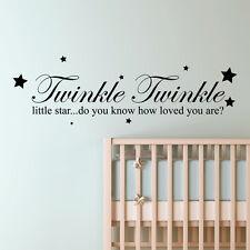 Twinkle Little Star Frase Pared Cuarto del Bebé Niños Pegatina vinilo adhesivo